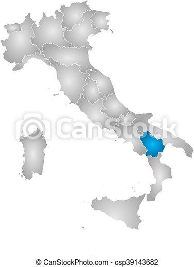 Cartina Italia E Province.Mappa Basilicata Italia Mappa Italia Pendenza Province Highlighted Basilicata Radiale Pieno Canstock