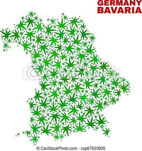 mappa, baviera, foglie, terra, canapa, mosaico - csp67633905