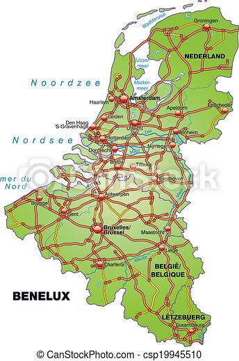 Cartina Fisica Belgio.Autostrade Mappa Benelux Canstock