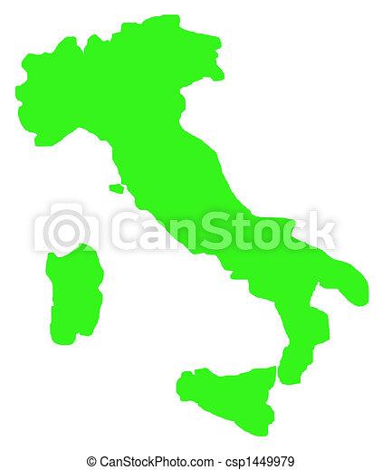 Cartina Dell Italia Solo Contorno.Mappa Bianco Italia Contorno Mappa Italia Contorno Isolato Fondo Verde Bianco Canstock