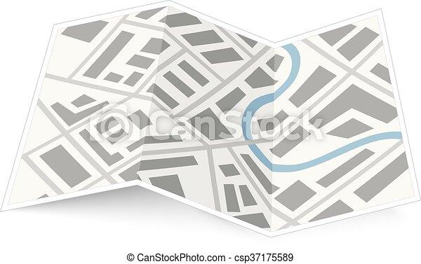 mappa, bianco, piegatura, uggia, città - csp37175589