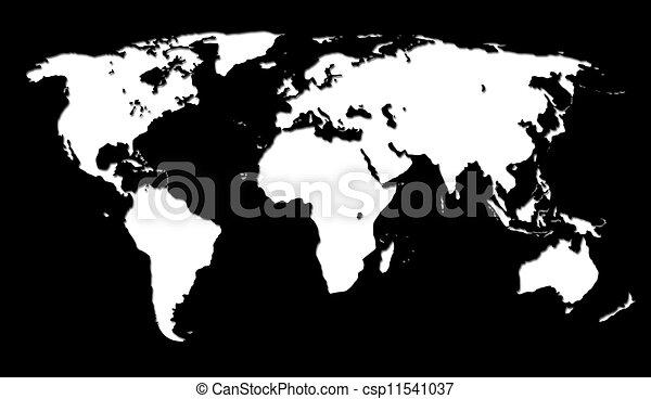 Cartina Mondo In Bianco E Nero.Mappa Bianco Sfondo Nero Mondo Canstock