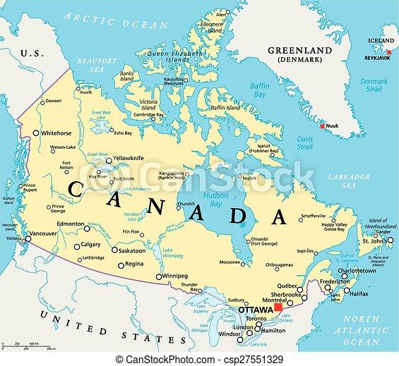 Cartina Canada Politica.Mappa Canada Politico