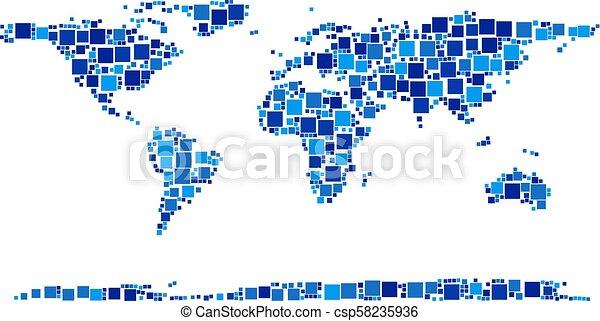 mappa, composizione, continente, mondo, pixel - csp58235936