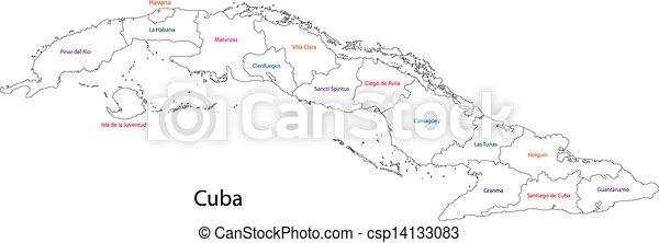mappa, contorno, cuba - csp14133083