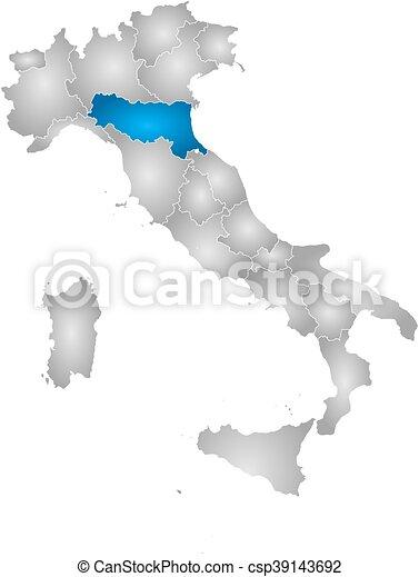 Emilia Romagna Cartina Province.Mappa Emilia Romagna Italia Mappa Emilia Romagna Italia Pendenza Province Highlighted Radiale Pieno Canstock