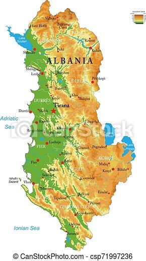 Cartina Albania Fisica.Mappa Fisico Albania Fisico Cities Dettagliato Altamente Forme Albania Vettore Regioni Sollievo Grande Mappa Canstock