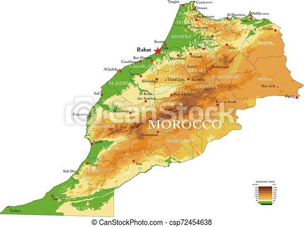 Marocco Cartina Geografica Fisica.Mappa Fisico Marocco Mprocco Fisico Cities Dettagliato Altamente Forme Vettore Regioni Sollievo Grande Mappa Canstock