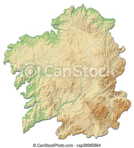 Cartina Spagna Galizia.Mappa Galizia 3d Rendering Spain Sollievo Provincia Mappa Spagna Relief Galizia Sollievo Ombreggiato Canstock