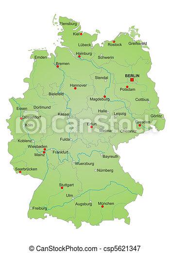 Cartina Germania Con Fiumi.Mappa Germania Germania Cities Esposizione Nomi Citta Tedesco Fiumi Grande Mappa Stati Stilizzato Language Canstock