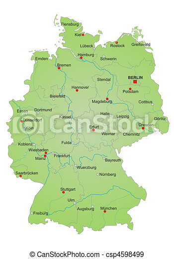 Cartina Germania Fiumi.Mappa Germania Mappa Tutto Detailled Tedesco Esposizione States Language Fiumi Germania Citta Citta Canstock