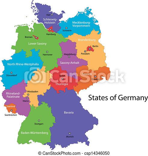 Regioni Germania Cartina.Mappa Germania Mappa Principale Colorito Regioni Germania Citta Canstock