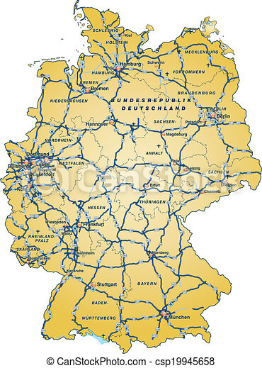 Cartina Autostradale Germania.Autostrade Mappa Germania Giallo Canstock