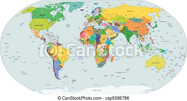 mappa, globale, politico, mondo - csp5586786