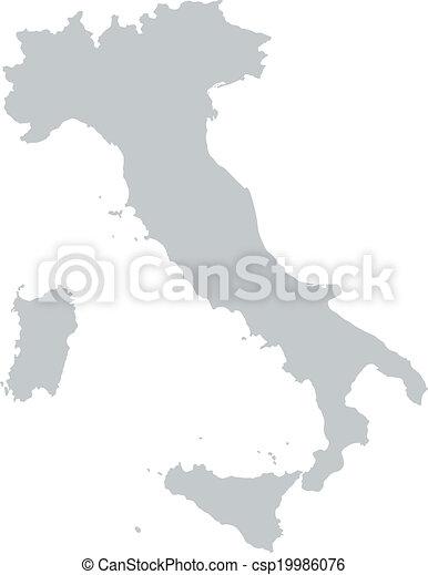 Italia Cartina Vettoriale.Mappa Italia Mappa Profili Di Fodera Italia Grigio Canstock