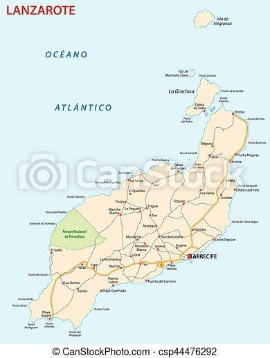 Cartina Lanzarote.Mappa Lanzarote Strada Isola Canarie Mappa Isola Canarino Vettore Lanzarote Strada Canstock