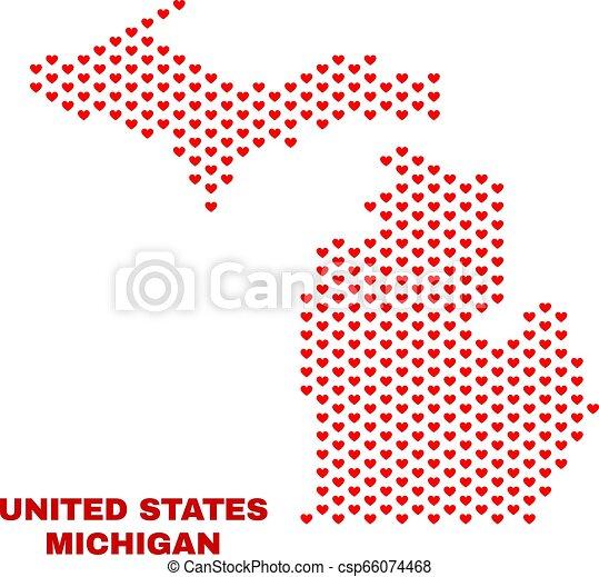 mappa, michigan, -, valentina, stato, cuori, mosaico - csp66074468