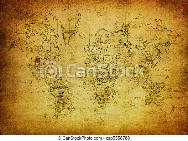 mappa, mondo, antico - csp5558788