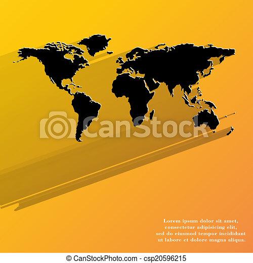 mappa mondo, icona, disegno web, appartamento - csp20596215