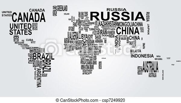 mappa mondo, nome, paese - csp7249920