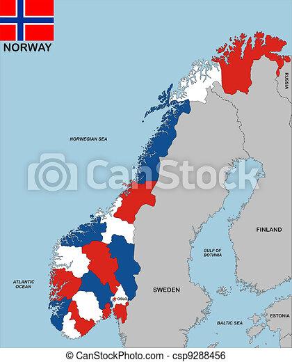 Cartina Norvegia Politica.Mappa Norvegia Mappa Molto Grande Politico Bandiera Norvegia Formato Canstock