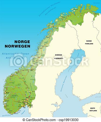 La Norvegia Cartina.Autostrade Mappa Norvegia Canstock
