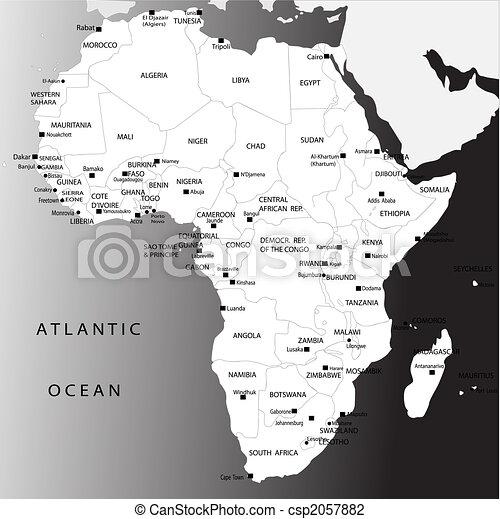 Cartina Dell Africa Da Colorare.Mappa Politico Africa Mappa Bianco Politico Nero Africa