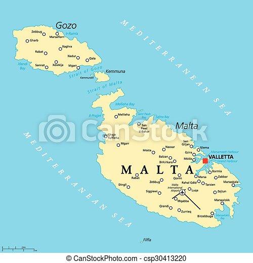 Cartina Politica Malta.Mappa Politico Malta Mappa Scaling Valletta Capitale Politico Malta Importante Etichettare Inglese Cities Canstock