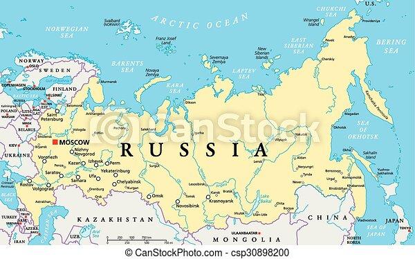 Russia Cartina Politica.Mappa Politico Russia Mappa Scaling Illustration Capitale Nazionale Politico Etichettare Mosca Lakes Profili Di Canstock