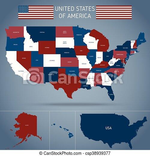 Stati Uniti Cartina Politica.Mappa Politico Stati Uniti Manifesto Blu Mappa Stati Uniti Manifesto Politico Americano Illustrazione Regioni Canstock