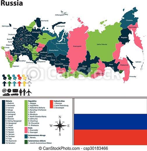 Cartina Russia Regioni.Mappa Russia Mappa Chiamato Regioni Bandiera Vettore Russia Tesserati Magnetici Canstock