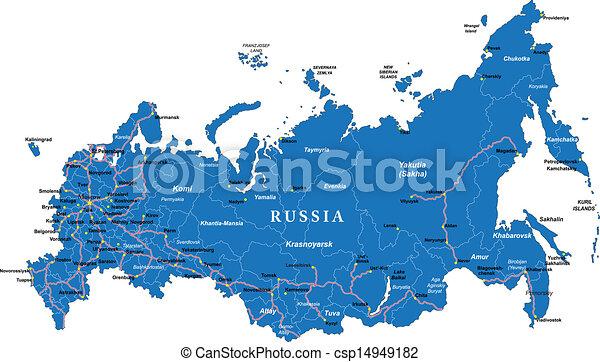 Cartina Russia Da Stampare.Mappa Russia Dettagliato Mappa Principale Regioni Altamente Vettore Citta Amministrativo Russia Roads Canstock