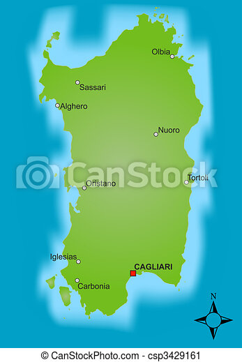 Mappa Sardegna Zona Cagliari.Mappa Sardegna Mappa Differente Isola Esposizione Italien Stilizzato Sardegna Cities Canstock