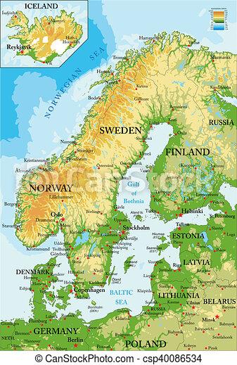 Mar Baltico Mapa Fisico.Mappa Scandinavia Physical