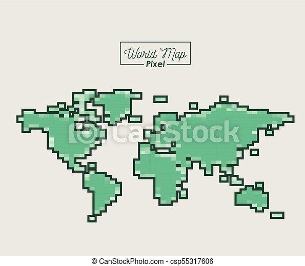 mappa, silhouette, colorare, verde, mondo, pixel - csp55317606