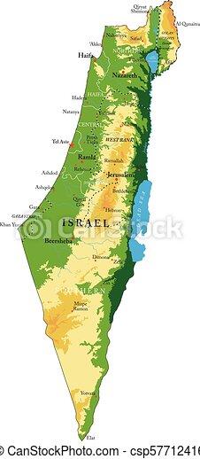 Cartina Geografica Fisica Israele.Mappa Sollievo Israele Fisico Cities Dettagliato Altamente Forme Israele Vettore Regioni Sollievo Grande Mappa Canstock
