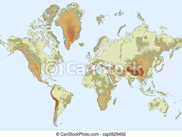 mappa, sollievo, mondo - csp0629492