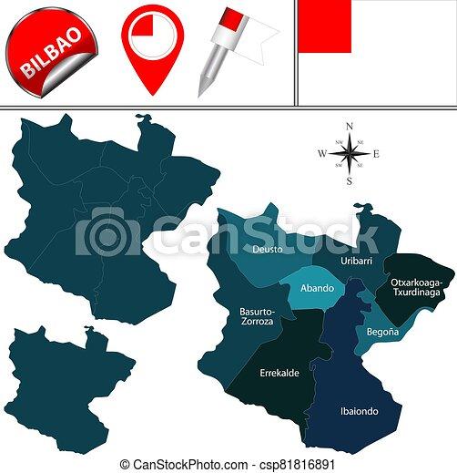 Bilbao Cartina Spagna.Mappa Spagna Bilbao Spagna Chiamato Distretti Icone Viaggiare Mappa Vettore Bilbao Canstock