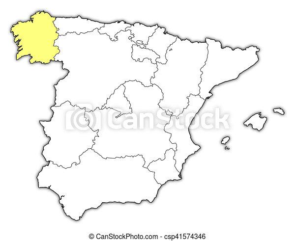 Galizia Cartina.Mappa Spagna Galizia Mappa Province Evidenziato Yellow Galizia Spagna Canstock