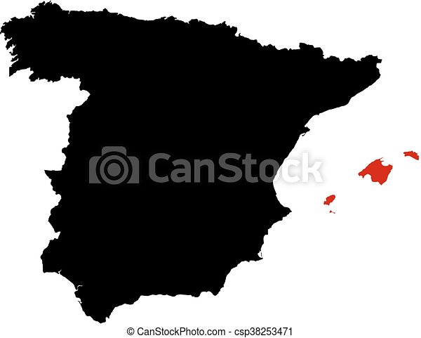 Cartina Spagna Isole Baleari.Mappa Spagna Isole Baleari Mappa Evidenziato Isole Nero Baleare Red Spagna Canstock