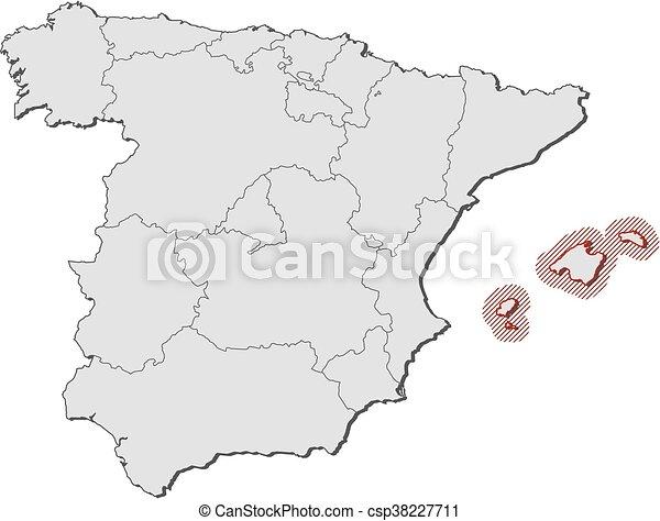 Cartina Spagna Isole Baleari.Mappa Spagna Isole Baleari Mappa Province Evidenziato Isole Baleare Hatching Spagna Canstock