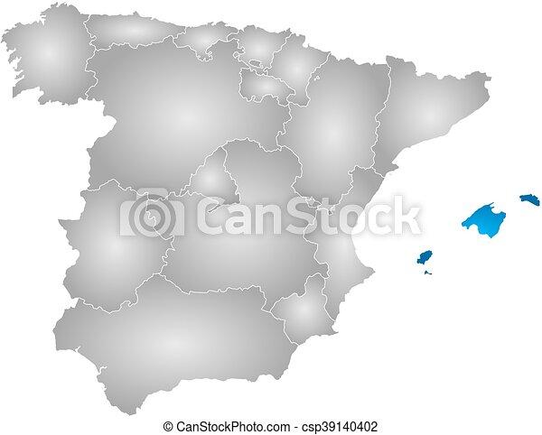 Cartina Spagna Baleari.Mappa Spagna Isole Baleari Mappa Pendenza Province Highlighted Spagna Radiale Isole Baleare Pieno Canstock