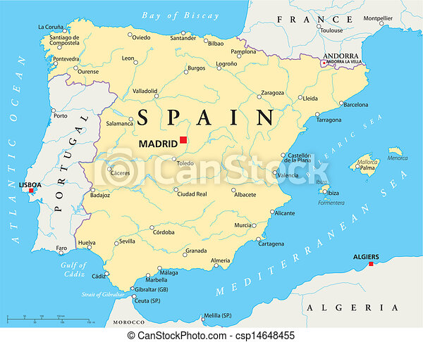 Portogallo Spagna Cartina.Mappa Spagna Mappa Profili Di Fodera Nazionale Laghi Fiumi La Maggior Parte Importante Citta Spagna Canstock