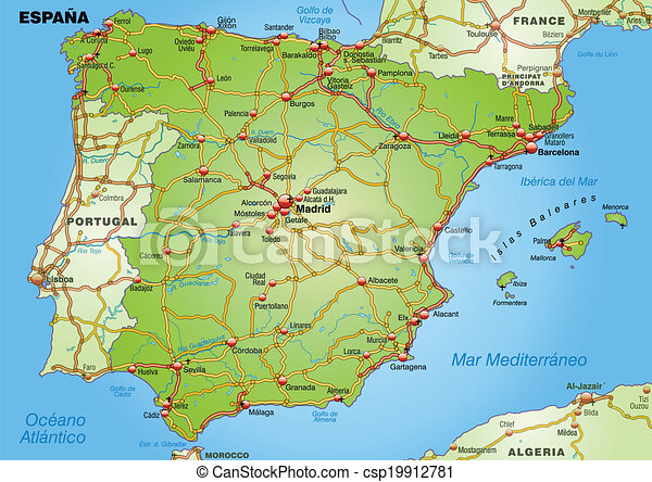 Bilbao Cartina Spagna.Autostrade Mappa Spagna Canstock