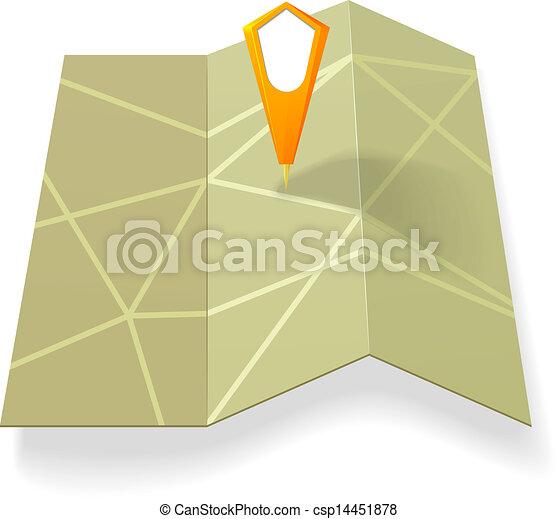 mappa, strada, puntatore, giallo - csp14451878