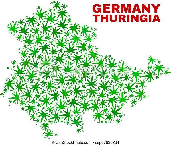 mappa, terra, thuringia, collage, foglie, marijuana - csp67636284