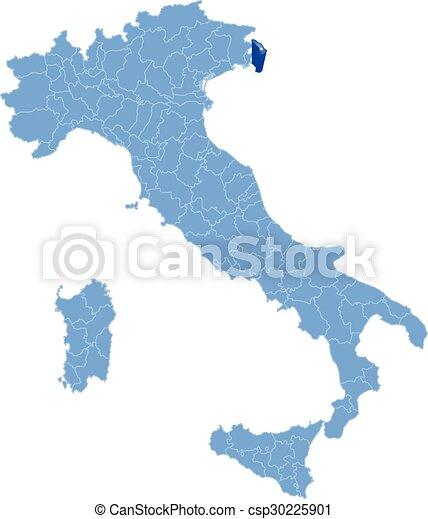 Italia Cartina Con Province.Mappa Trieste Italia Provincia Tirato Fondo Italia Isolato Trieste Dove Fuori Mappa Bianco Canstock