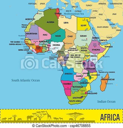 Cartina Capitali Del Mondo.Mappa Tutto Paesi Capitali Africa Loro Dettagliato Mappa Tutto Localizzato Piastra Paesi Politico Capitals Canstock