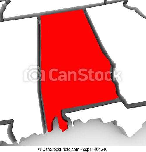 mappa, unito, astratto, stati, stato, alabama, america, rosso, 3d - csp11464646