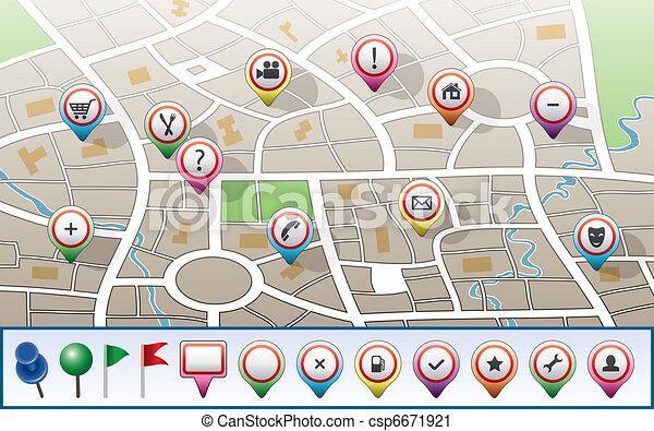 mappa urbana, vettore, gps, icone - csp6671921